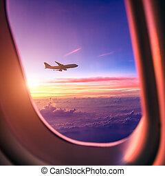repülőgép, ég, napkelte