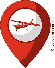 repülőgép, elhelyezés, ikon