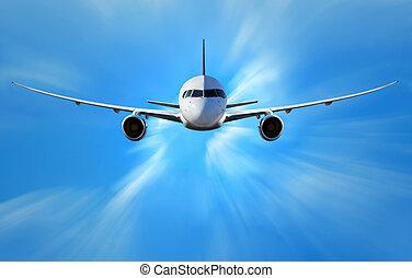 repülőgép, elhomályosul, felül