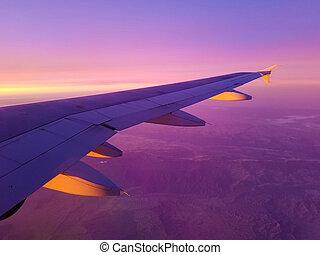 repülőgép, kalifornia, reggel