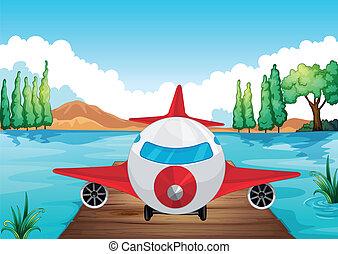 repülőgép, levegő, leszállás, természet