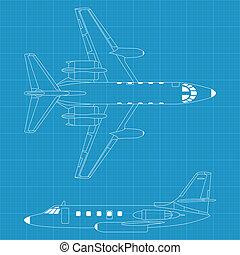 repülőgép, modern, civil