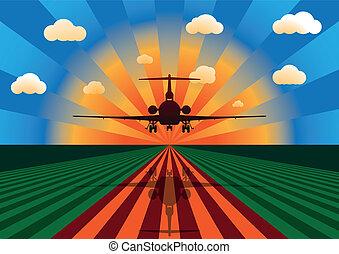 repülőgép naplemente, leszállás