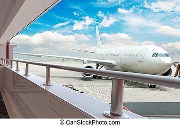 repülőgép, repülőtér, berakodás