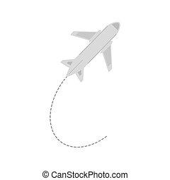 repülőgép, utazás, ügy, szünidő