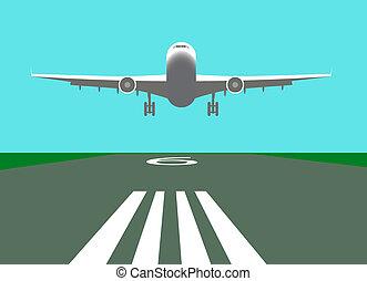 repülőgép, vektor, leszállás, ábra