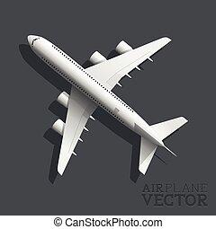 repülőgép, vektor, tető kilátás