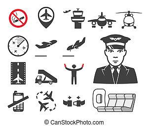 repülőtér, állhatatos, ikonok
