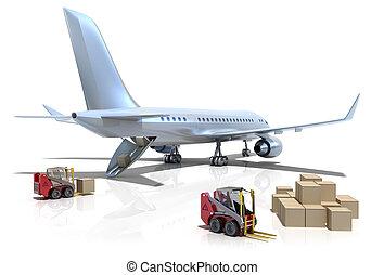 repülőtér, :, forklifts, repülőgép