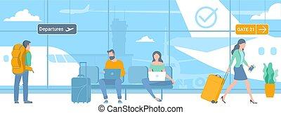 repülőtér, indulás, mozgó szerkezetek, terület