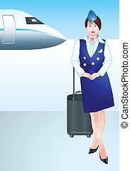 repülőtér, légi utaskísérőnő