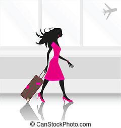 repülőtér, nő