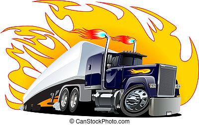 repaint, semi, one-click, vektor, truck., karikatúra