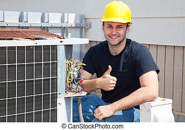 repairman, condioner, thumbsup, levegő