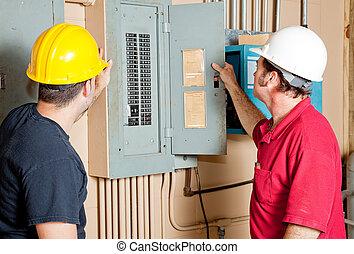 repairmen, elektromos, megvizsgál, bizottság
