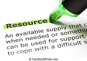 'resource', kijelölt, zöld