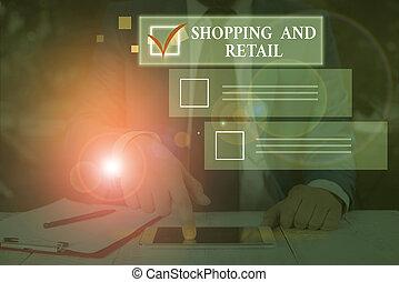 retail., eladás, customers., fénykép, eljárás, kiállítás, írás, kéz, bevásárlás, fogalmi, ügy, szolgáltatás, fogyasztási cikkek, szöveg