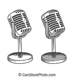 retro, öreg, ábra, szüret, mikrofon, vektor