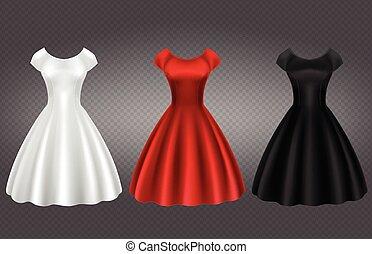 retro, fehér, black ruha, piros, nő, koktél