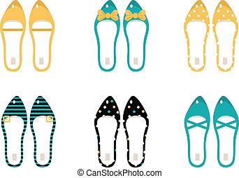 &, retro, kék, (, elszigetelt, gyűjtés, cipők, sárga, ), fehér