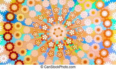 retro, karika, hippi, hurkolás, fényes, boldog, virág, befest, eleven, háttér, móka