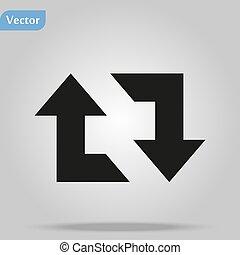 retweet, nyíl, lakás, fehér, tervezés, háttér, illlustration, ikon