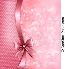 ribbon., dolgozat, öreg, háttér, ünnep, tehetség, vektor, íj, rózsaszínű