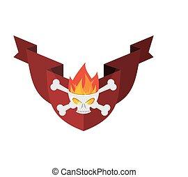 ribbon., embléma, pajzs, koponya, címertani, fire., hadi, cégtábla., keresztezett lábszárcsontok