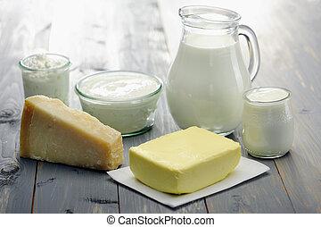 ricotta, vaj, sajt, joghurt, megfej, napló, termékek