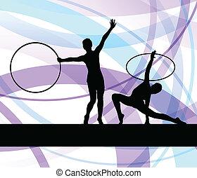 ritmikus, nő, gimnasztikai, abroncs, vektor, háttér, karika