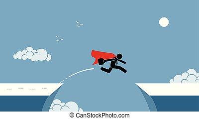 rizikó tart, ugrás, piros, üzletember, köpeny, felett, chasm.