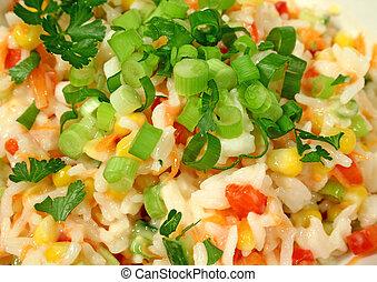 rizs, saláta