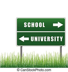 roadsign, izbogis, university.