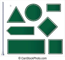 roadsigns, fehér, tiszta, set., zöld, háttér., aláír, út