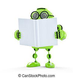 robot, book.