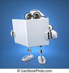 robot emberi külsővel, könyv, felolvasás, robot