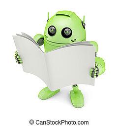 robot emberi külsővel, könyv, tiszta