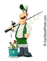 rod., character., halász, karikatúra