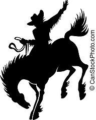 rodeó, árnykép, cowboy