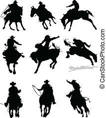 rodeó, ló, silhouettes., il, vektor