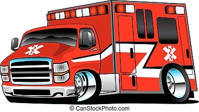 rohammentős, piros, mentőautó