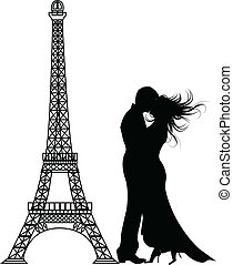románc, párizs, vektor, árnykép