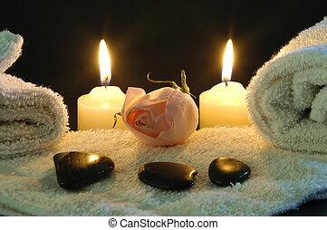 romantikus, éjszaka, ásványvízforrás