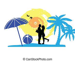 romantikus összekapcsol, tengerpart