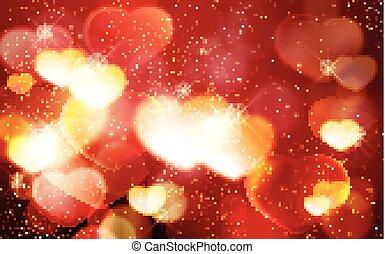 romantikus, valentine's, bokeh, izzó, háttér, nap, piros, piros