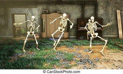 romos, móka, house., tánc, világ, mindenszentek napjának előestéje, 3, post-apocalyptic, csontváz, rendering., fogalom, táncol, horror., vagy, öreg