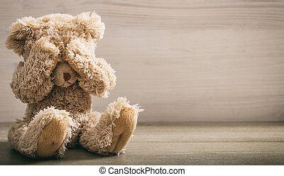 rongálás, concept., gyermek, szemek, hord, fedő, teddy-mackó