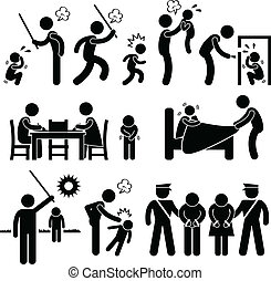 rongálás, gyerekek, család, pictogram