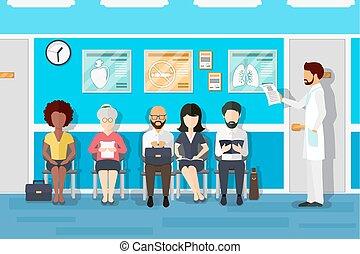 room., vektor, türelmes, várakozás, ábra, orvosok
