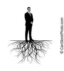 roots., vektor, illustration., ember